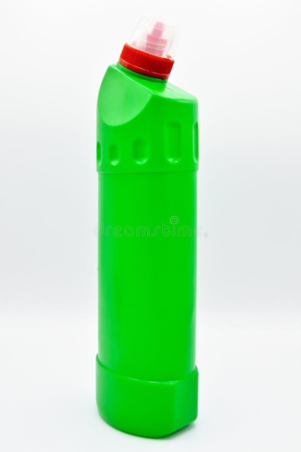 Πράσινο χρωματισμένο πλαστικό καθαριστικό μπουκάλι Καλλυντικό, εμπορευματοκιβώτιο στοκ εικόνα με δικαίωμα ελεύθερης χρήσης