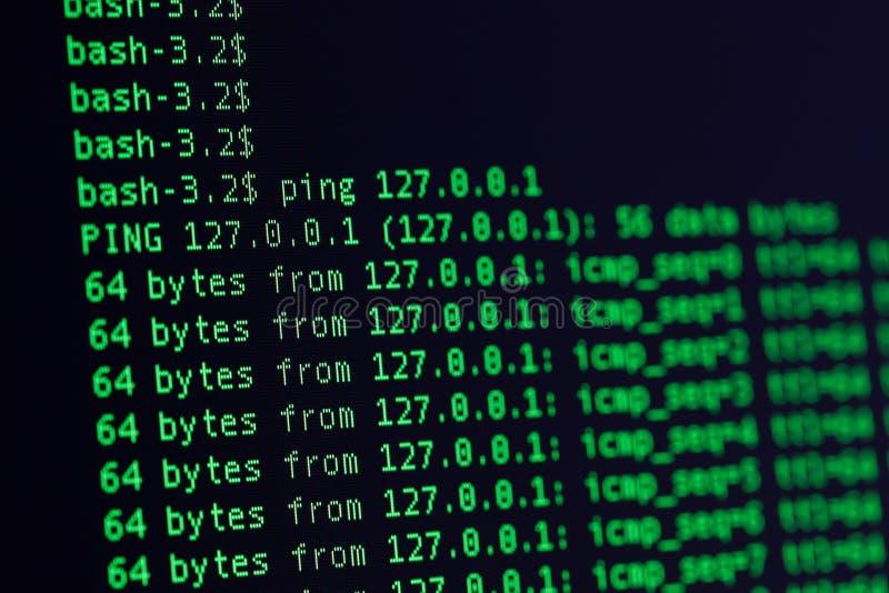 Πράσινο χρώμα κοχυλιών της UNIX bash στο μαύρο υπόβαθρο στοκ φωτογραφίες με δικαίωμα ελεύθερης χρήσης