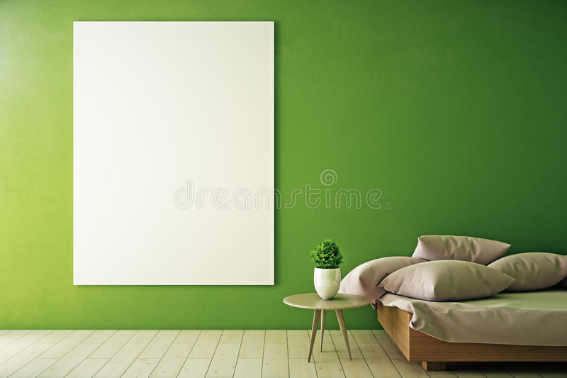 Πράσινο δωμάτιο με το κενό whiteboard ελεύθερη απεικόνιση δικαιώματος