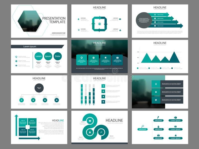Πράσινο hexagon πρότυπο παρουσίασης στοιχείων δεσμών infographic επιχειρησιακή ετήσια έκθεση, φυλλάδιο, φυλλάδιο, ιπτάμενο διαφήμ απεικόνιση αποθεμάτων