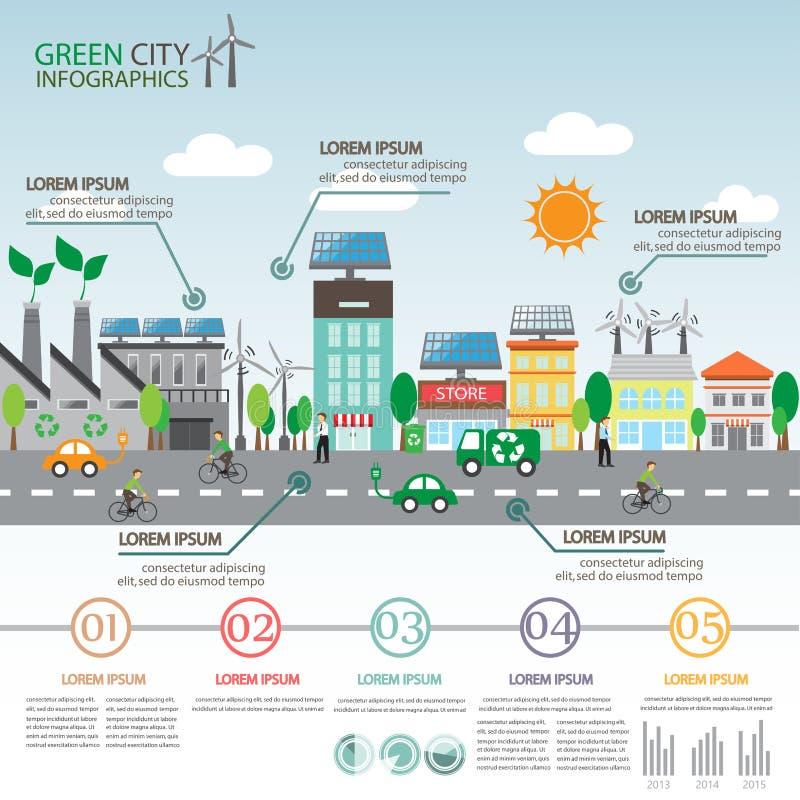 Πράσινο infographics πόλεων απεικόνιση αποθεμάτων