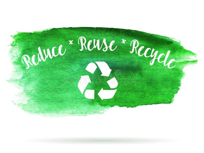 Πράσινο logotype οικολογίας στον αφηρημένο λεκέ χρωμάτων watercolor που απομονώνεται σε ένα άσπρο υπόβαθρο Η διανυσματική οικολογ απεικόνιση αποθεμάτων