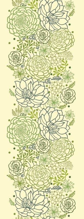 Πράσινο succulent κάθετο άνευ ραφής σχέδιο εγκαταστάσεων ελεύθερη απεικόνιση δικαιώματος