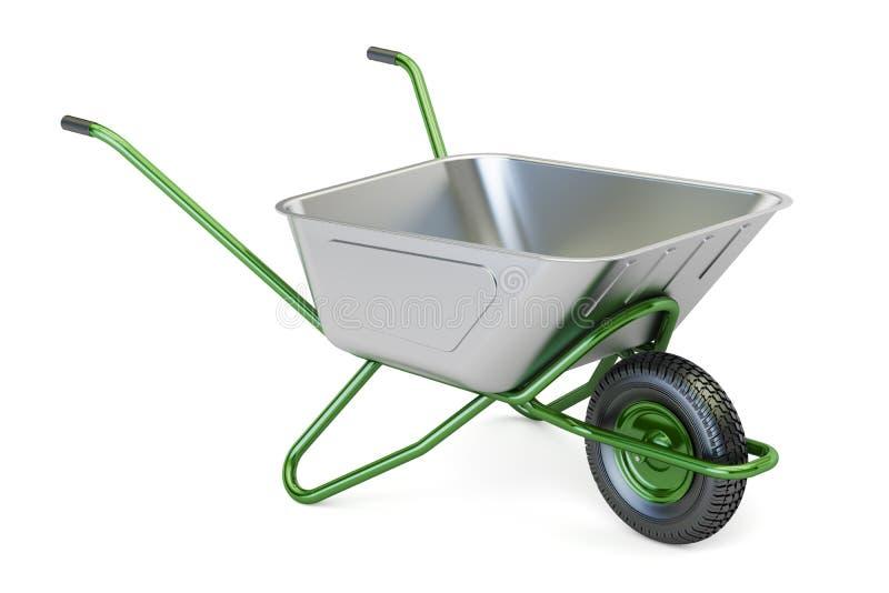 Πράσινο wheelbarrow κήπων, τρισδιάστατη απόδοση ελεύθερη απεικόνιση δικαιώματος