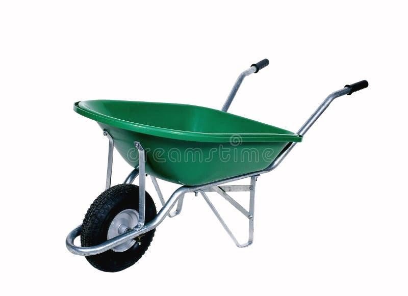 πράσινο wheelbarrow στοκ εικόνες