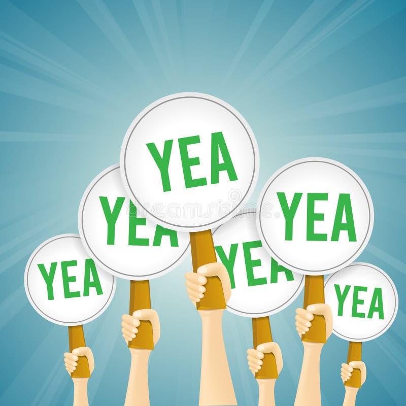 Πράσινο Yea βεβαιώνει το σημάδι διανυσματική απεικόνιση