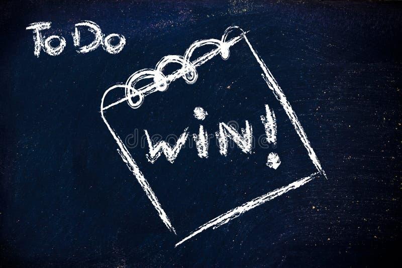 Πρέπει να κερδίσετε, μήνυμα στο υπόμνημα στον πίνακα στοκ φωτογραφίες με δικαίωμα ελεύθερης χρήσης