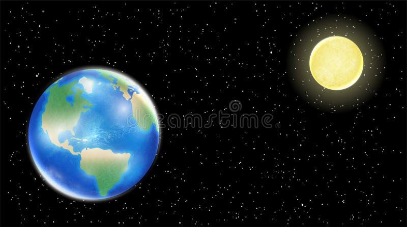 Πραγματικά γη και φεγγάρι στο διαστημικό υπόβαθρο αστεριών απεικόνιση αποθεμάτων