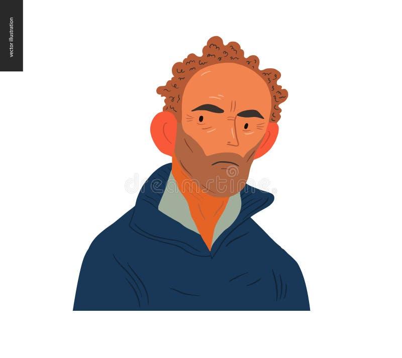 Πραγματικά πορτρέτα ανθρώπων - καφετής-μαλλιαρό άτομο διανυσματική απεικόνιση