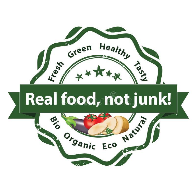 Πραγματικά τρόφιμα, όχι παλιοπράγματα - εκτυπώσιμη ετικέτα διανυσματική απεικόνιση