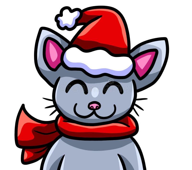 Πραγματικά χαριτωμένη και ευτυχής γάτα Χριστουγέννων διανυσματική απεικόνιση