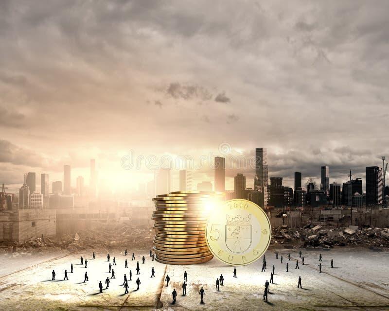 πραγματική αντανάκλαση χρημάτων σπιτιών κτημάτων έννοιας στοκ εικόνα με δικαίωμα ελεύθερης χρήσης