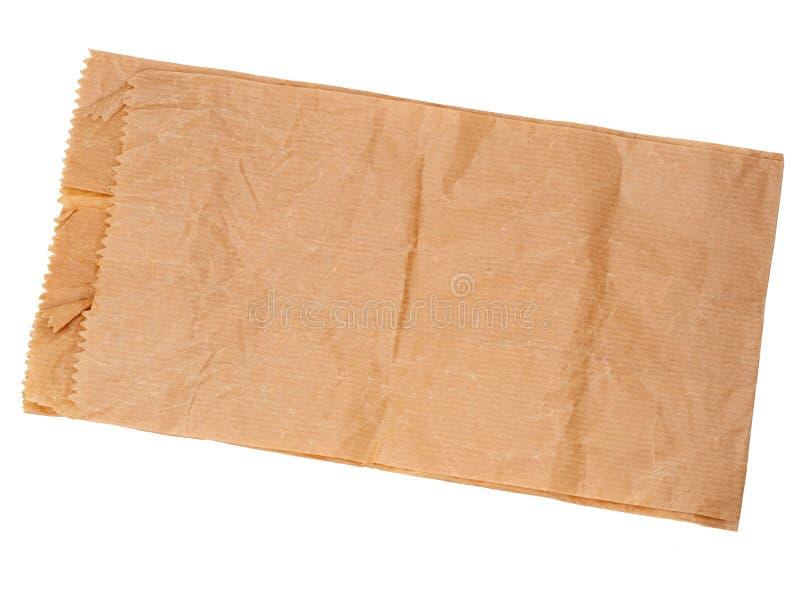 Πραγματική, ζαρωμένη τσάντα καφετιού εγγράφου που απομονώνεται στο λευκό Παραδοσιακή συσκευασία ή για το υπόβαθρο στοκ φωτογραφίες