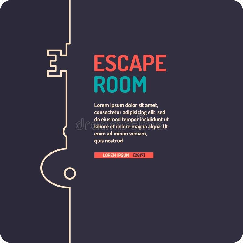 Πραγματική διαφυγή δωματίων και αφίσα παιχνιδιών αναζήτησης ελεύθερη απεικόνιση δικαιώματος