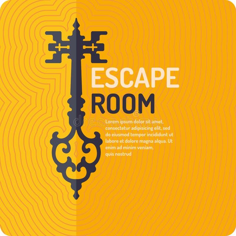 Πραγματική διαφυγή δωματίων και αφίσα παιχνιδιών αναζήτησης απεικόνιση αποθεμάτων