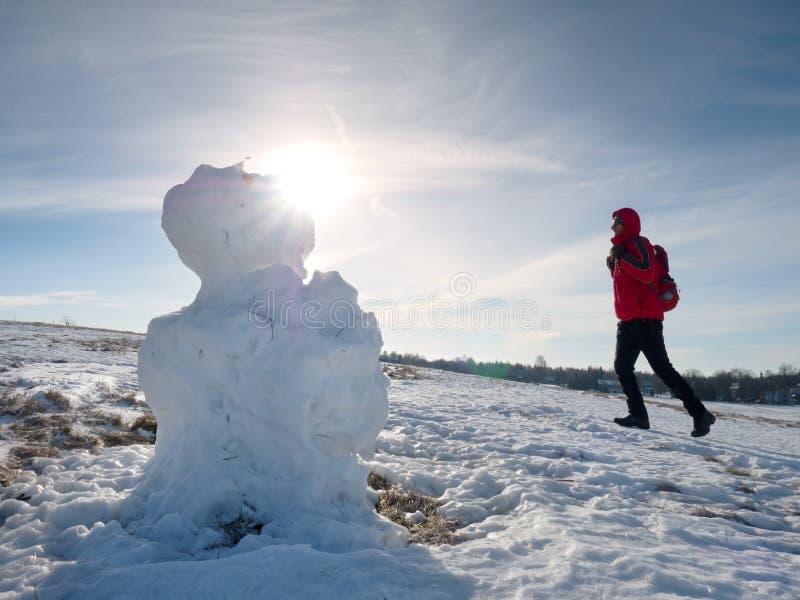 Πραγματικός παγωμένος χιονάνθρωπος στο χειμερινό τοπίο στοκ εικόνες