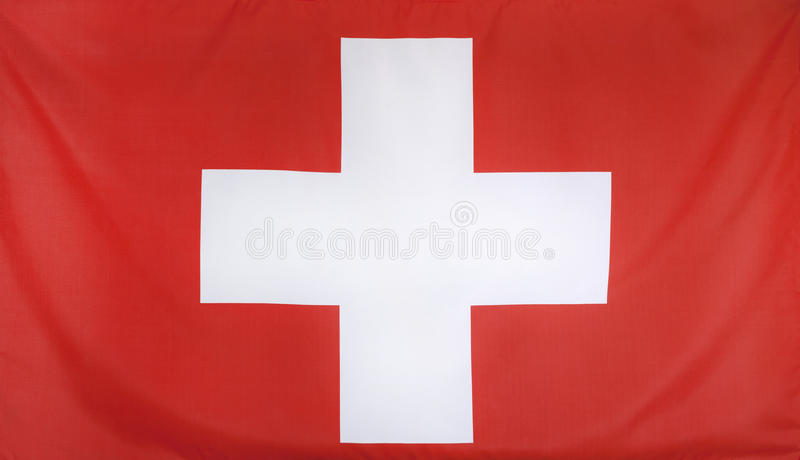 Πραγματικό ύφασμα σημαιών της Ελβετίας στοκ φωτογραφία με δικαίωμα ελεύθερης χρήσης