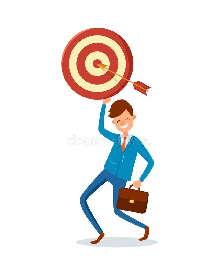 Πραγματοποιημένος βέλος στόχος, διανυσματικός ευτυχής επιχειρηματίας απεικόνιση αποθεμάτων