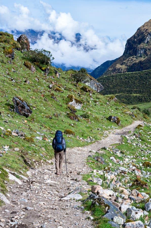 Πραγματοποιώντας οδοιπορικό στα βουνά, Περού, Νότια Αμερική στοκ εικόνες με δικαίωμα ελεύθερης χρήσης