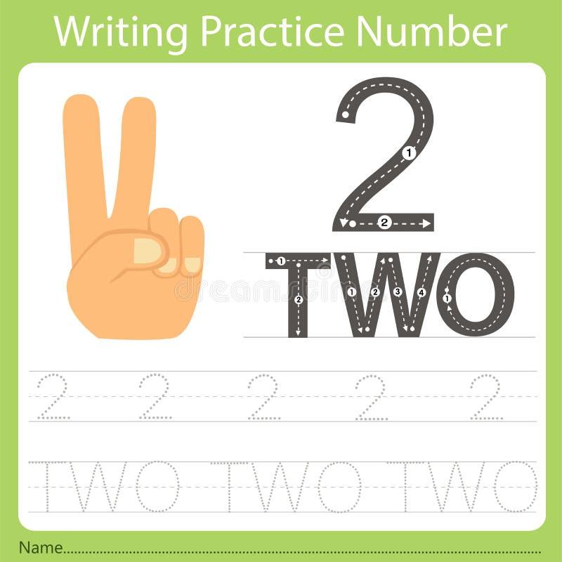 Πρακτική αριθμός δύο γραψίματος φύλλων εργασίας διανυσματική απεικόνιση