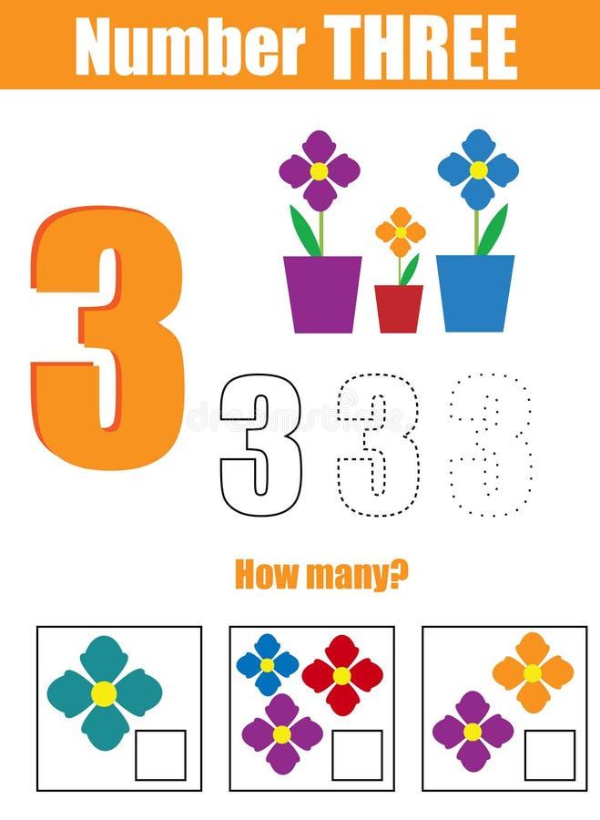 πρακτική γραφής Μαθηματικά και αριθμοί εκμάθησης Αριθμός τρία Εκπαιδευτικό παιχνίδι παιδιών, εκτυπώσιμο φύλλο εργασίας για τα παι ελεύθερη απεικόνιση δικαιώματος