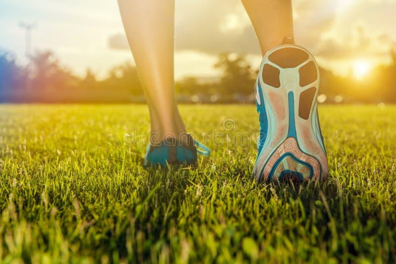 Πρακτική ποδιών δρομέων που τρέχει στη χλόη στοκ εικόνα με δικαίωμα ελεύθερης χρήσης