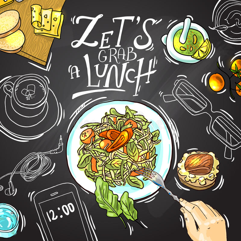 πρακτικό μεσημεριανό γεύμα ζητημάτων φλυτζανιών επιχειρησιακού καφέ που ανοίγουν απεικόνιση αποθεμάτων