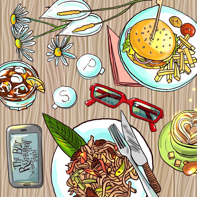 πρακτικό μεσημεριανό γεύμα ζητημάτων φλυτζανιών επιχειρησιακού καφέ που ανοίγουν διανυσματική απεικόνιση