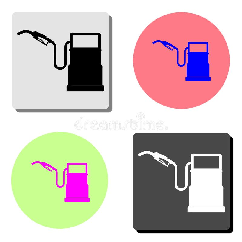 Πρατήριο καυσίμων βενζίνης Επίπεδο διανυσματικό εικονίδιο απεικόνιση αποθεμάτων