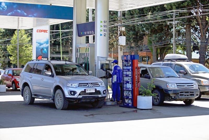 Πρατήριο καυσίμων στο Carretera νότιο, Χιλή στοκ φωτογραφία με δικαίωμα ελεύθερης χρήσης