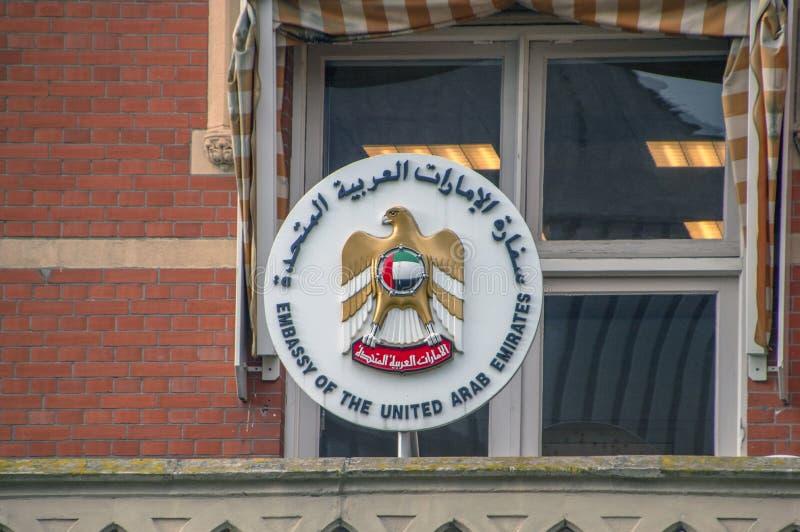 Πρεσβεία πινάκων διαφημίσεων των Ηνωμένων Αραβικών Εμιράτων στη Χάγη Κάτω Χώρες 2018 στοκ φωτογραφίες με δικαίωμα ελεύθερης χρήσης