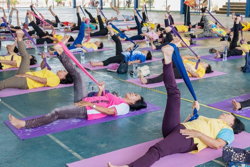 Πρεσβύτεροι που κάνουν την άσκηση γιόγκας στοκ εικόνα με δικαίωμα ελεύθερης χρήσης