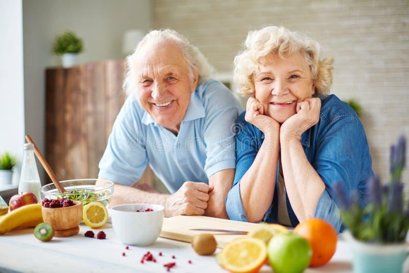 Πρεσβύτεροι στην κουζίνα στοκ εικόνα με δικαίωμα ελεύθερης χρήσης