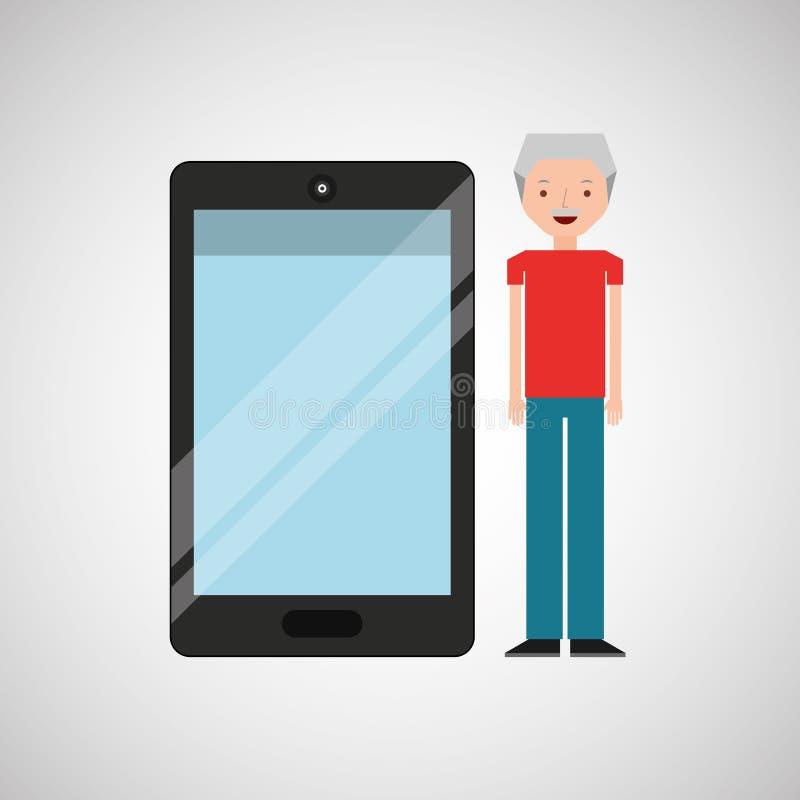 Πρεσβύτερος ατόμων χαρακτήρα με το λαμπρό στρώμα smartphone απεικόνιση αποθεμάτων