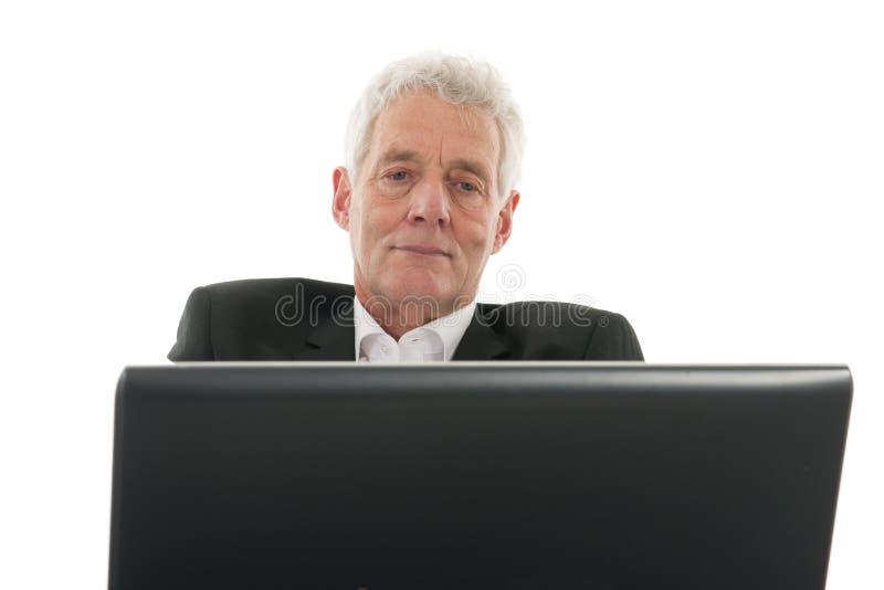 πρεσβύτερος ατόμων lap-top στοκ φωτογραφία