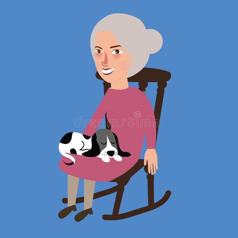 Πρεσβύτερος γυναικών ηλικιωμένων κυριών με τον ύπνο γατών στη συνεδρίαση περιτυλίξεών της στην καρέκλα ελεύθερη απεικόνιση δικαιώματος