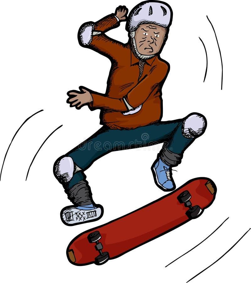 πρεσβύτερος πολιτών skateboarder ελεύθερη απεικόνιση δικαιώματος