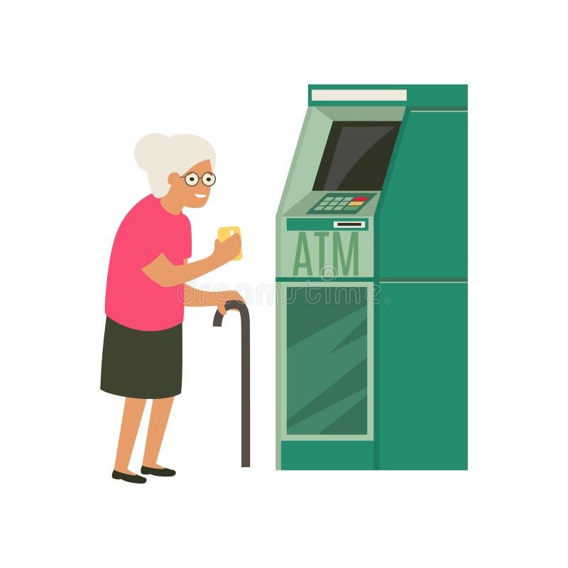 Πρεσβύτερος που αποσύρει τα χρήματα από την πιστωτική κάρτα στο ATM απεικόνιση αποθεμάτων