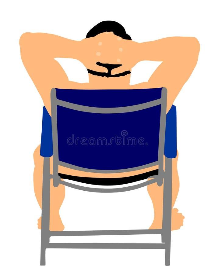 Πρεσβύτερος στη συνεδρίαση παραλιών στην καρέκλα παραλιών Ώριμη ηλιοθεραπεία ελεύθερη απεικόνιση δικαιώματος