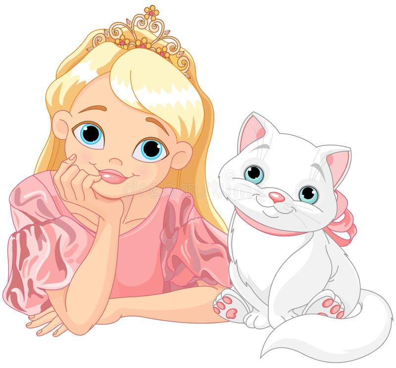 Πριγκήπισσα και γάτα διανυσματική απεικόνιση