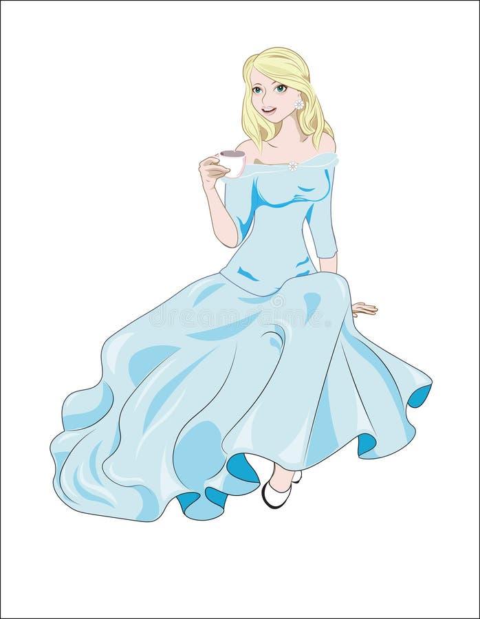 Πριγκήπισσα με ένα φλυτζάνι και μπλε φόρεμα απεικόνιση αποθεμάτων