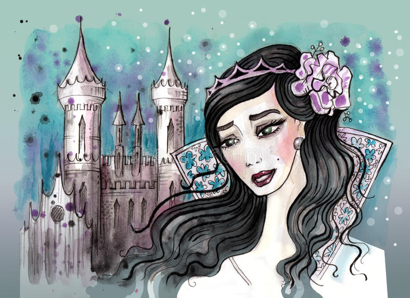 Πριγκήπισσα με τη σκοτεινή τρίχα και το κάστρο της πίσω διανυσματική απεικόνιση