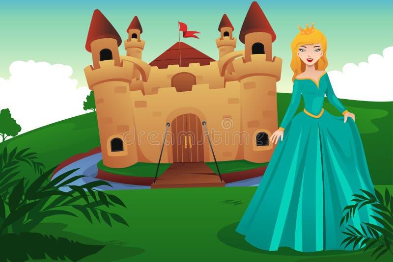 Πριγκήπισσα μπροστά από το κάστρο της διανυσματική απεικόνιση