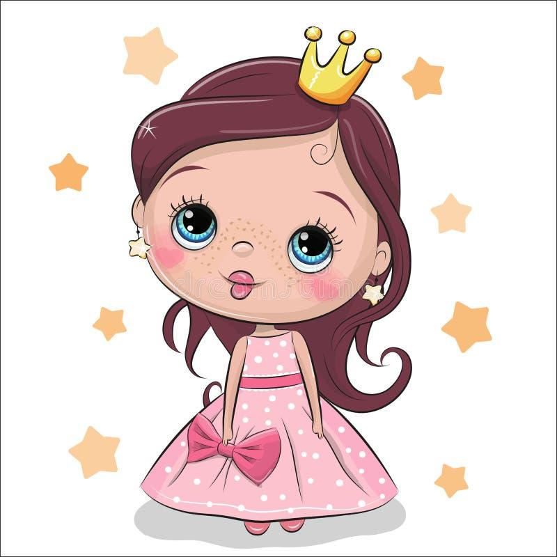 Πριγκήπισσα παραμυθιού ευχετήριων καρτών διανυσματική απεικόνιση