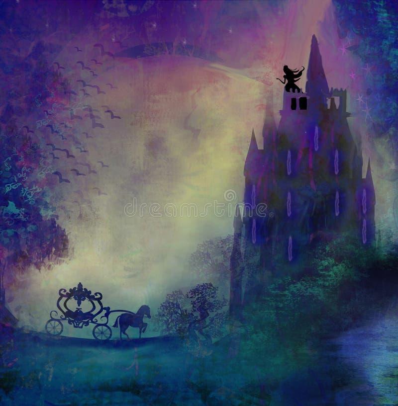 Πριγκήπισσα στον πύργο που περιμένει τον πρίγκηπα διανυσματική απεικόνιση