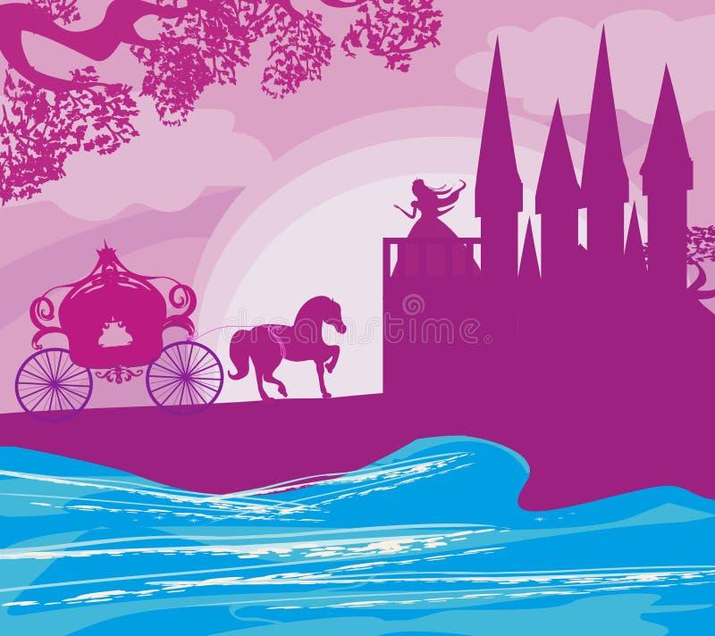 πριγκήπισσα στο κάστρο που περιμένει τον πρίγκηπα ελεύθερη απεικόνιση δικαιώματος
