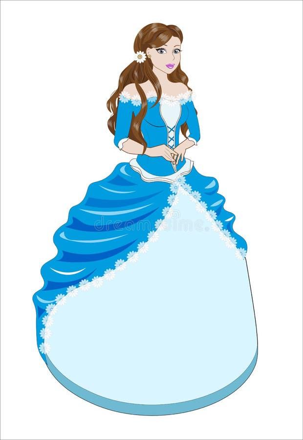 Πριγκήπισσα το brunette σε ένα μπλε φόρεμα ελεύθερη απεικόνιση δικαιώματος