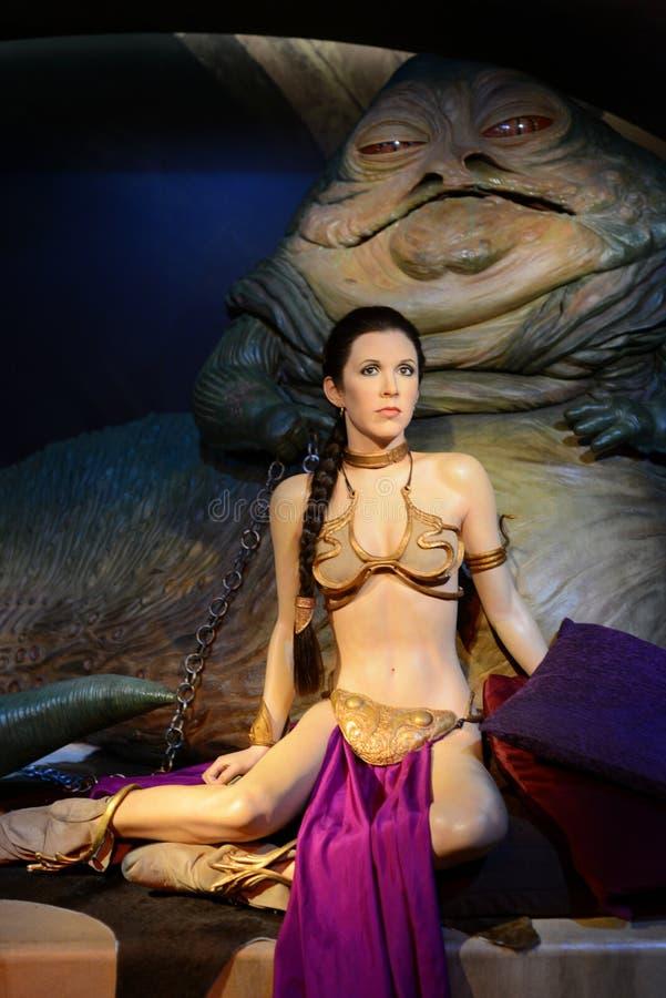Πριγκήπισσα Leia Organa και Jabba - η κυρία Tussauds London στοκ φωτογραφίες