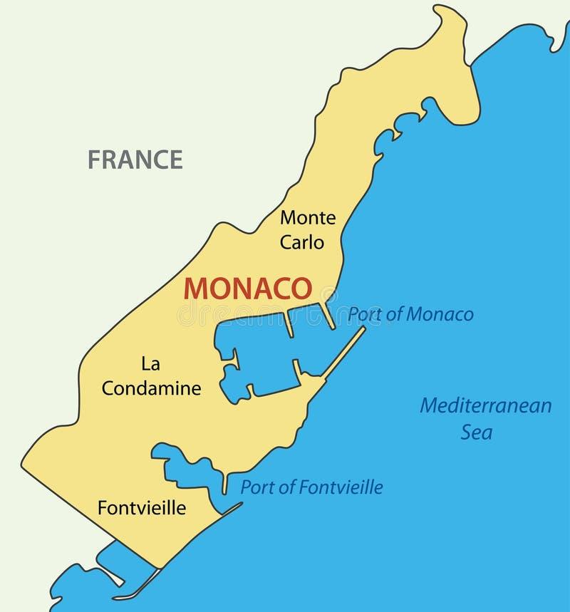 Πριγκηπάτο του Μονακό - χάρτης της χώρας διανυσματική απεικόνιση