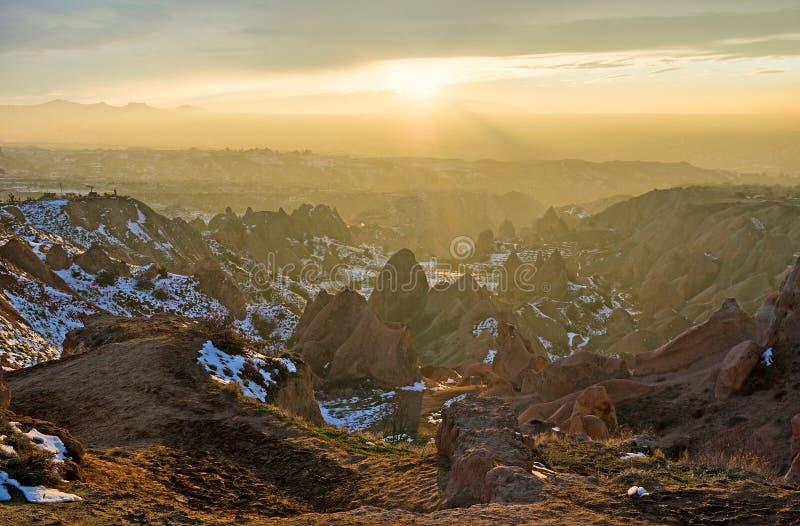 Πριν από το ηλιοβασίλεμα σε Cappadocia στοκ φωτογραφία
